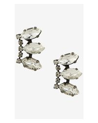 Express | White Triple Navette Rhinestone Post Earrings | Lyst