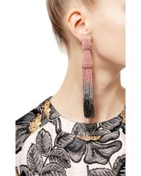 Oscar de la Renta | Soft Pink & Metallic Long Ombré Tassel Earrings | Lyst
