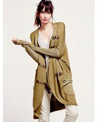 Free People - Natural Buckle Cardigan - Lyst