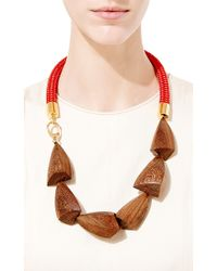 Marni - Red And Natural Legno Wood Necklace - Lyst
