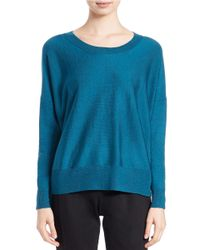 Eileen Fisher | Green Merino Wool Ballet-neck Sweater | Lyst