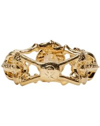 Alexander McQueen | Metallic Gold Twin Skeleton Ring | Lyst