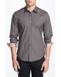 Burberry Brit | Gray 'henry' Trim Fit Stretch Cotton Sport Shirt for Men | Lyst