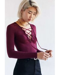 Project Social T | Purple Plunge Lace-up Top | Lyst