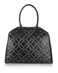 Alaïa - Black Trapeze Arabesque Embellished Leather Tote - Lyst