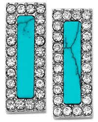 Michael Kors | Blue Silver-Tone Turquoise-Color Bar Stud Earrings | Lyst