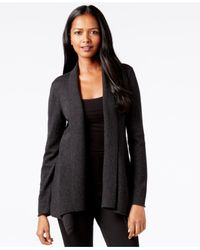 Eileen Fisher | Gray Draped Open-front Cardigan | Lyst