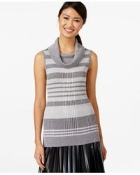 Joseph A | Sleeveless Cowl-neck Metallic Sweater | Lyst