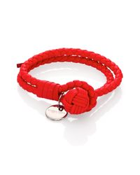Bottega Veneta | Red Intrecciato Leather Double-row Wrap Bracelet | Lyst