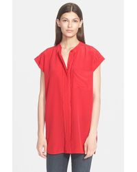 VINCE | Red Frayed Placket Blouse | Lyst