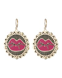 Betsey Johnson | Phototech Gold & Black Lips Drop Earrings | Lyst