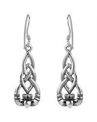 Aeravida - Metallic Irish Celtic Heart Claddagh .925 Sterling Silver Dangle Earrings - Lyst