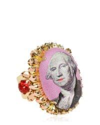 Bijoux De Famille - Pink Large Funky Dollar Ring - Lyst