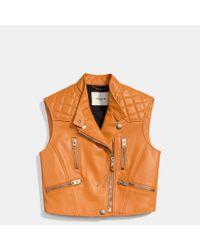 COACH - Brown Leather Biker Vest - Lyst
