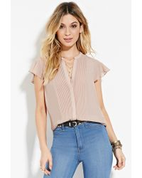 Forever 21 | Pink Pintucked Chiffon Blouse | Lyst