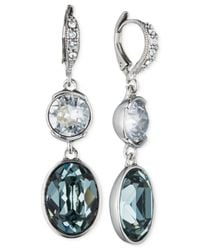 Givenchy - Blue Crystal Double Drop Earrings - Lyst