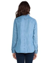 C&C California - Textured Chambray Two Pocket Shirt in Blue - Lyst