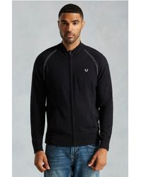 True Religion | Black Mens Ls Raglan Zip Up Mens Sweater for Men | Lyst