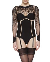 La Perla | Black Bodysuit With Suspender Straps | Lyst