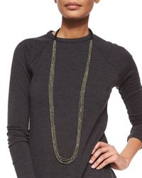 Brunello Cucinelli | Metallic Multi-strand Beaded Long Necklace | Lyst