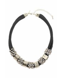 TOPSHOP - Black Bar And Rhinestone Cord Collar - Lyst