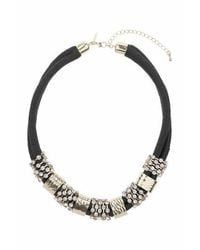 TOPSHOP | Black Bar And Rhinestone Cord Collar | Lyst