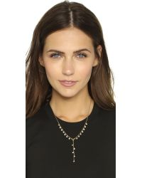 Rebecca Minkoff | Metallic Crystal Dainty Stone Y Necklace - Gold/clear | Lyst