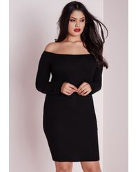 Missguided | Plus Size Jersey Bardot Ribbed Bodycon Dress Black | Lyst