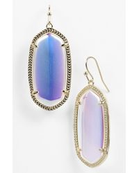 Kendra Scott | Metallic 'elle' Drop Earrings - Iridescent Glass/ Gold | Lyst