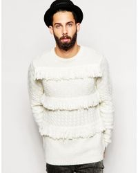 ASOS - Natural Cable Knit Jumper With Fringing for Men - Lyst