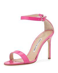 Manolo Blahnik - Pink Chaos Patent High-Heel Sandal - Lyst