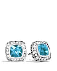 David Yurman - Petite Albion Earrings With Blue Topaz & Diamonds - Lyst