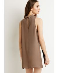 Forever 21 - Brown Contemporary Contrast High-slit Tunic - Lyst