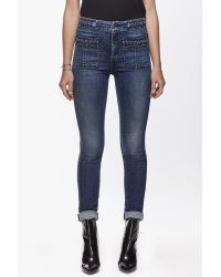 7 For All Mankind - Blue Braided Skinny - Lyst