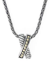 Effy | Metallic Sterling Silver And 18Kt Yellow Gold Crossover Pendant Necklace | Lyst