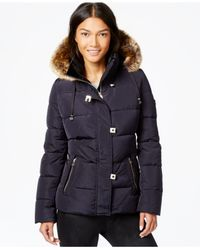 Calvin Klein | Blue Faux-fur-trim Down Puffer Coat | Lyst