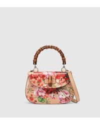 Gucci | Multicolor Bamboo Bag With Blooms Print | Lyst