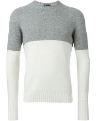 Drumohr - Gray Two-tone Crew Neck Sweater for Men - Lyst