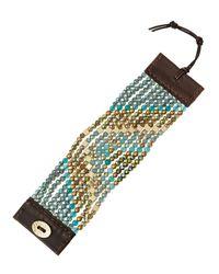 Nakamol | Chevron Beaded Cuff Bracelet Greenteal | Lyst