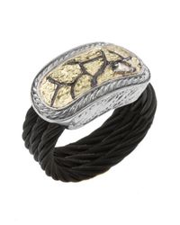 Charriol - Women'S Sahara 18K Yellow Gold Black Ss Diamond .07Tcw Ring - Lyst