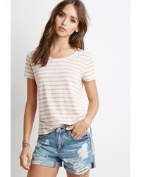 Forever 21 - Pink Lace-paneled Stripe Tee - Lyst