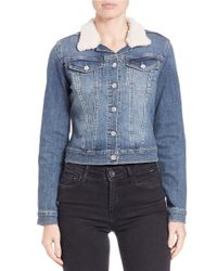 Jessica Simpson | Blue Sherpa-collared Denim Jacket | Lyst