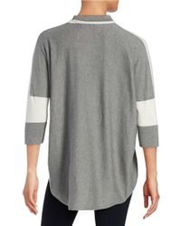 T Tahari - Natural Mock Neck Hi-lo Sweater - Lyst