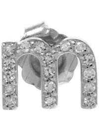 KC Designs | Metallic White Gold Diamond M Single Stud Earring | Lyst