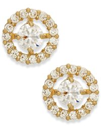 Macy's | Metallic Flower Cluster Cubic Zirconia Stud Earrings In 10k Gold | Lyst