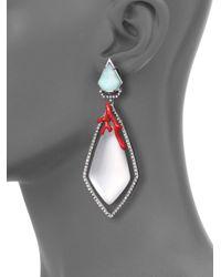 Alexis Bittar - Metallic Coral Deco Lucite, Amazonite, Crystal & Enamel Clip-on Drop Earrings - Lyst