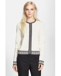 Tory Burch - Gray Zip Front Cardigan - Lyst