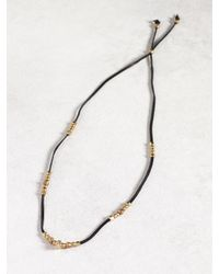 John Varvatos | Metallic Black Leather & Bronze Skull Necklace for Men | Lyst