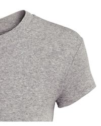 H&M - Gray Ribbed Top - Lyst