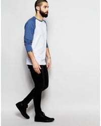 Farah - Blue T-shirt With Contrast Reglan Long Sleeves Slim Fit Exclusive for Men - Lyst